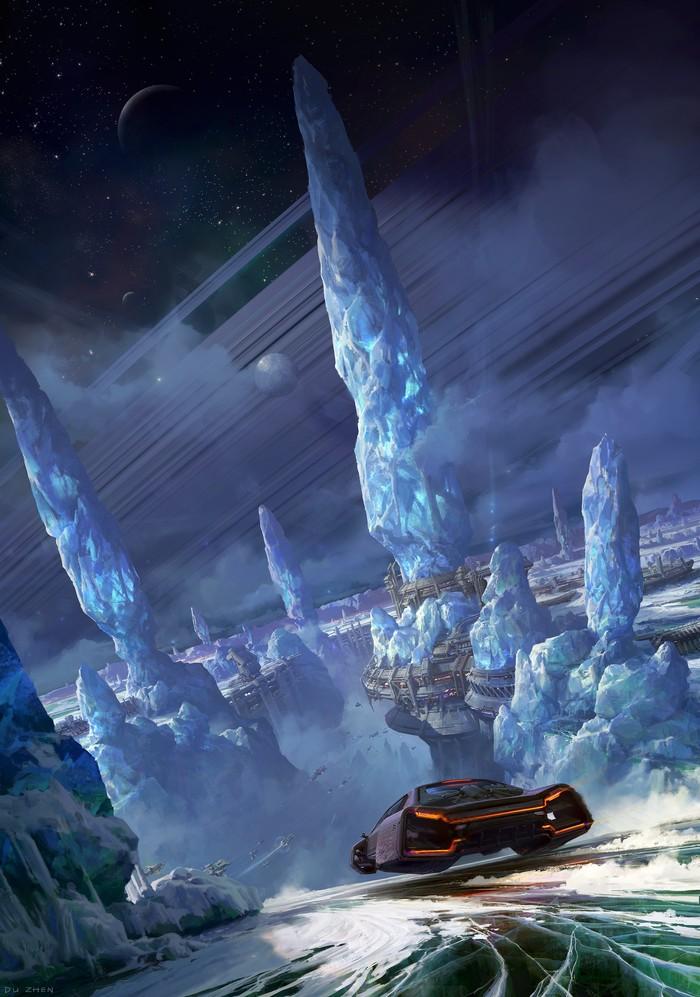 Замерзшая планета Арт, Рисунок, Планета, Будущее, Фантастика