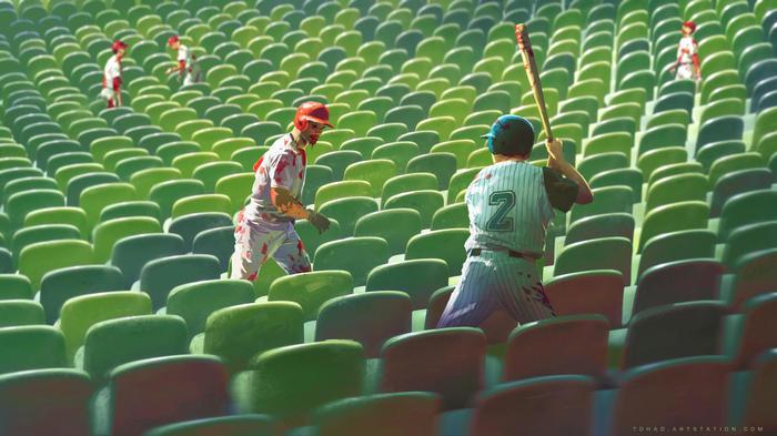 Dead Stadium Арт, Зомби, Tohad, Бейсбол