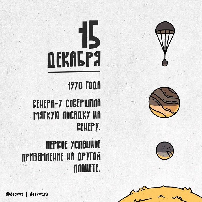 (015/366) 15 декабря произошла первая мягкая посадка на другую планету ПроектКалендарь2, Венера, Космос, СССР, Рисунок, Иллюстрации