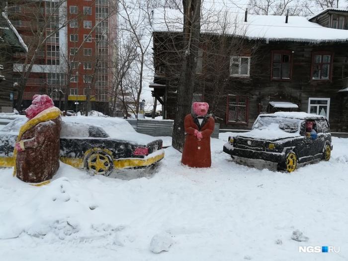 Народное творчество Новосибирска Снежная скульптура, Снеговик, Новосибирск, Мерседес, Кабан