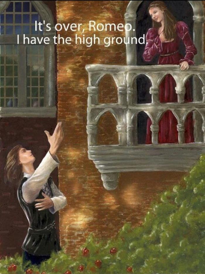 Всё кончено, Ромео! Я стою выше тебя!