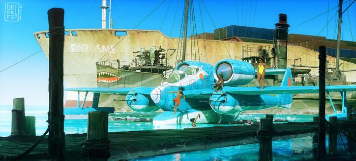 Море и самолеты Арт, Море, Самолет, Воздушный бой, Длиннопост