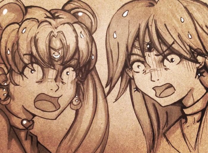 Редрав Перерисовка, Sailor Moon, Аниме, Скетч, Начинающий художник, Графика