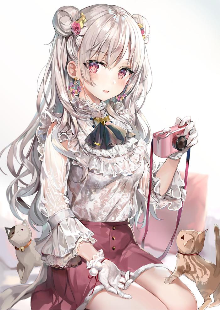 Anime art Anime Art, Anime Original, Кот, Девушки