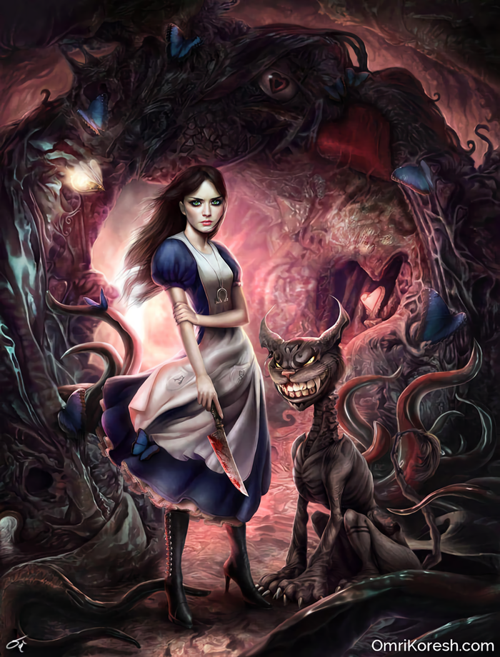 Dark Wonderland Игры, Арт, American McGees Alice, Alice: Madness Returns, Alice, Чеширский кот, Omri Koresh