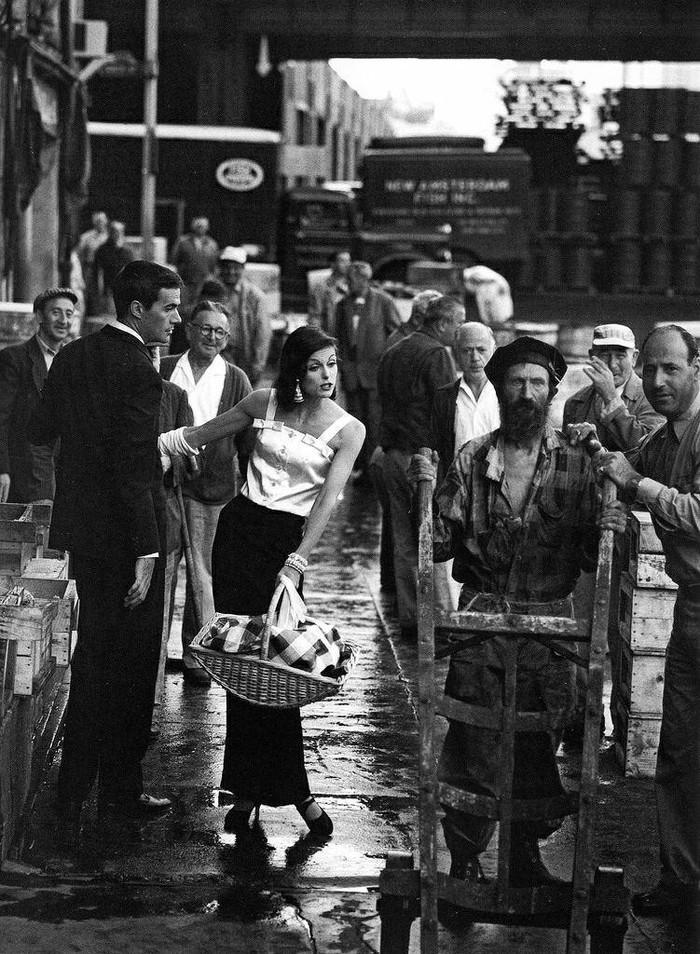 Рыбный рынок Нью-Йорка и его контрасты, США, 1958 год.
