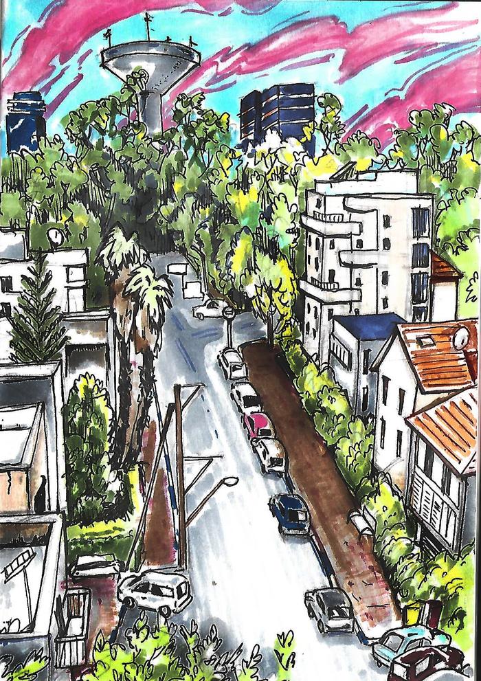 Вид из моего окна Рисунок, Вид из окна, Акварельные маркеры, Арт, Город, Улица, Городские пейзажи