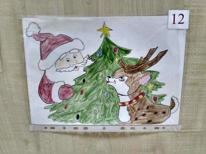 Этот олень что-то замышляет. Новый Год, Детские рисунки, Рисунок, Санта-Клаус, Олень, Коварство, Опасность