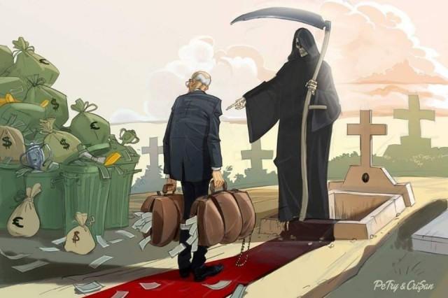 Богатство с собой в гроб не возьмёшь Общество, Богатство, Смерть, Бренность, Гроб, Рисунок, Напоминание