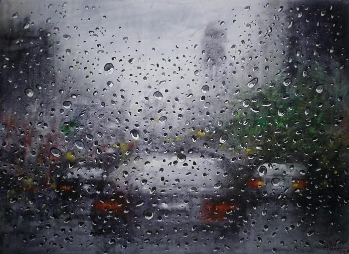 А за окном опять дожди... (2018) акварель 42*60cm
