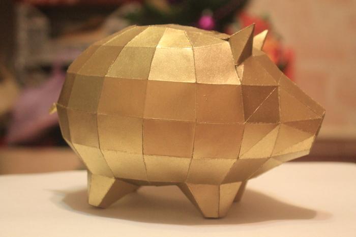 Свинка копилка. Паперкрафт. Рукоделие без процесса, Papercraft, Свинка, Low poly, Рукоделие, Бумажный моделизм, Длиннопост