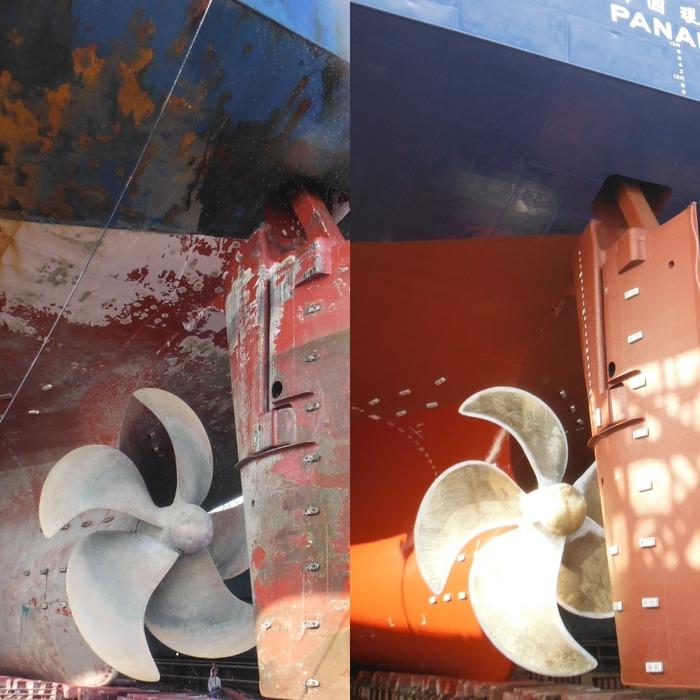 """Судно-контейнеровоз """"до"""" и """"после"""" ремонта. Судно, Работа в море, Корея, Судоремонт, Восстановление"""