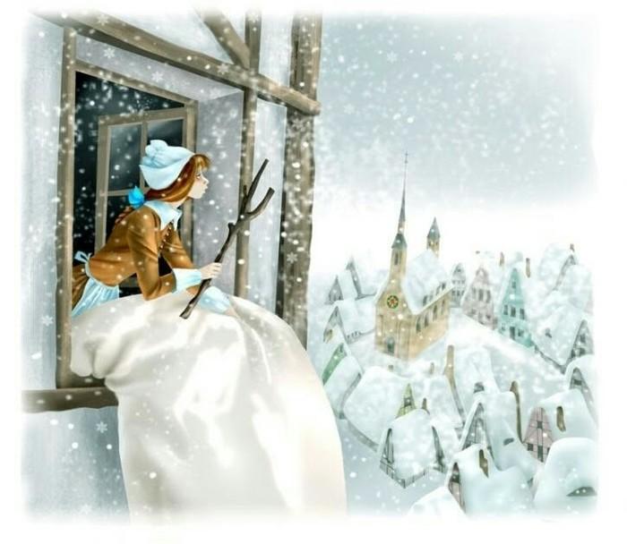 Госпожа Метелица Вена, Братья Гримм, Новый Год, Зимняя сказка, Сказка, Снег, Снегопад