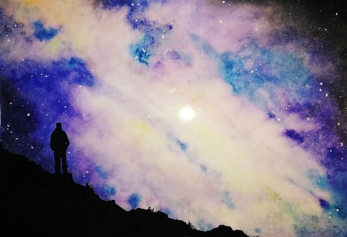 Акварель Акварель, Смешанная техника, Рисунок, Небо, Звёзды, Звездное небо
