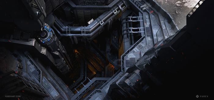 Колония Арт, Научная фантастика, Sci-Fi, Цифровой рисунок, Рисунок, Концепт-Арт, Город, Колония