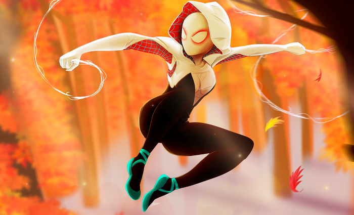 Ghost Spider Арт, Мультфильмы, Человек-Паук: Через вселенные, Spider-Gwen, NCMares, Marvel