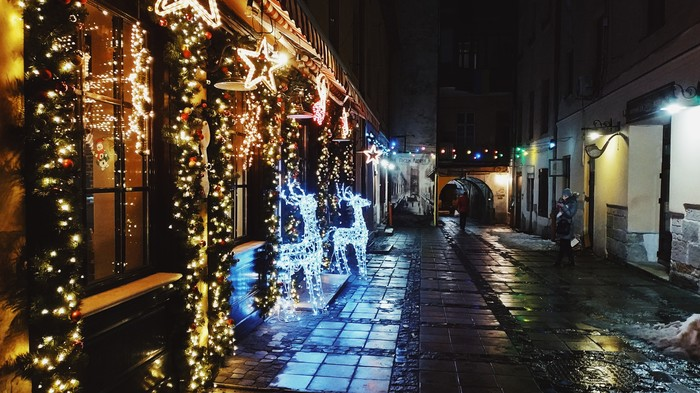 Праздничный Львов Мобильная фотография, Начинающий фотограф, Львов, Новый Год, Вечер, Длиннопост, Украина