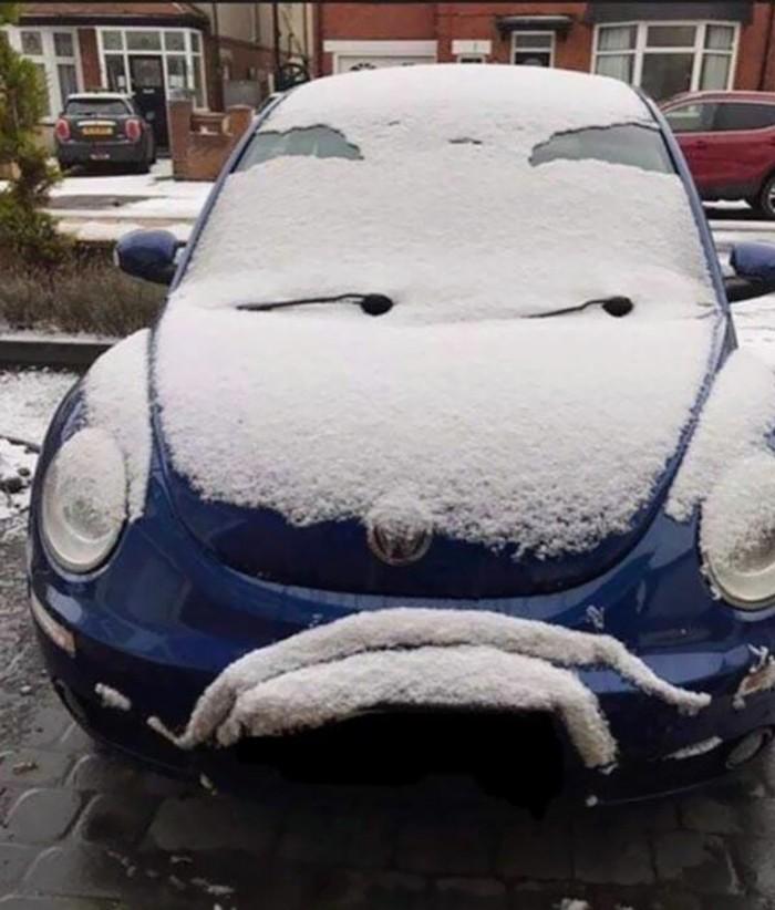 Недоверчивый Фотография, Авто, Снег, Парейдолия, Volkswagen, VW Beetle