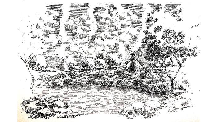 Перо и тушь - пейзаж. Рисование, Скетч, Скетчбук, Графика, Арт, Природа, Пейзаж, Видео, Длиннопост