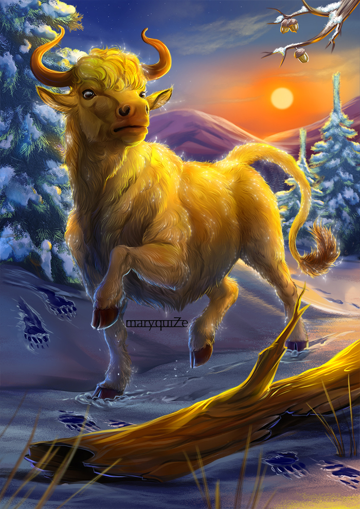 Ре-эм. Mary beasts, Фан-Арт, Гарри Поттер, Цифровой рисунок, Арт, Бык, Фантастические твари