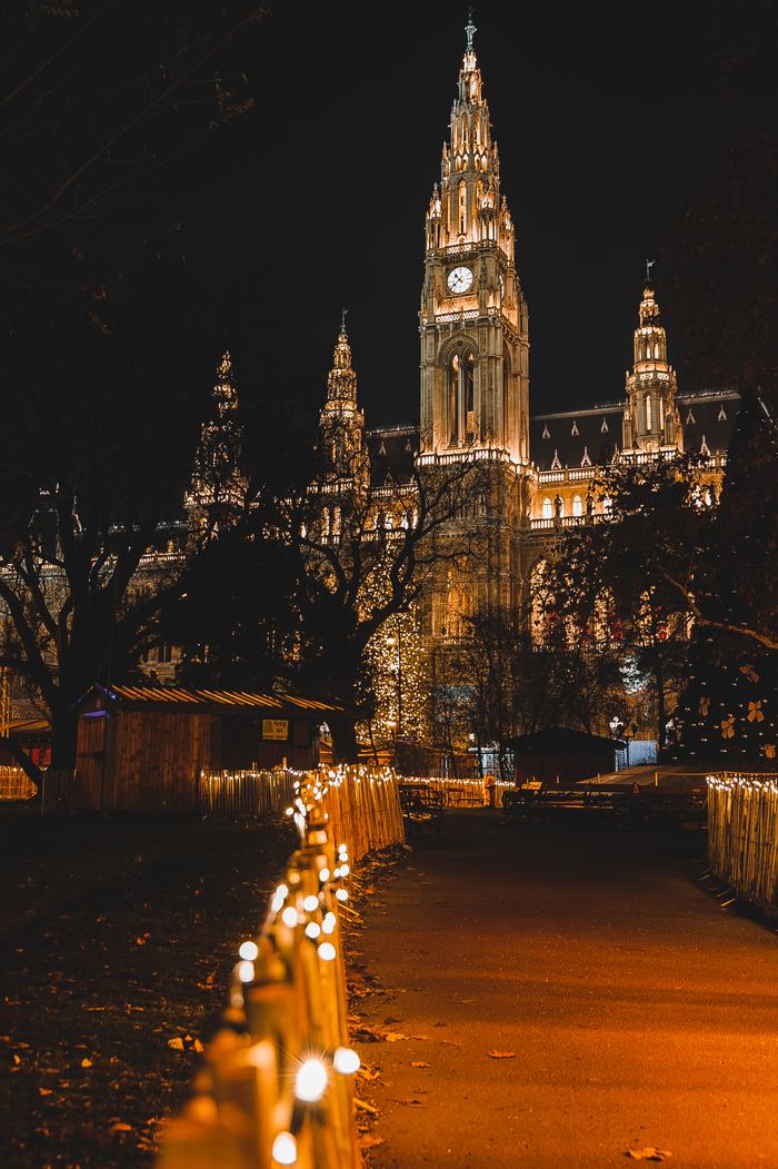 Вечерняя Вена под рождество Вена, Рождество, Фотография, Архитектура, Ночная съемка, Панорама, Длиннопост