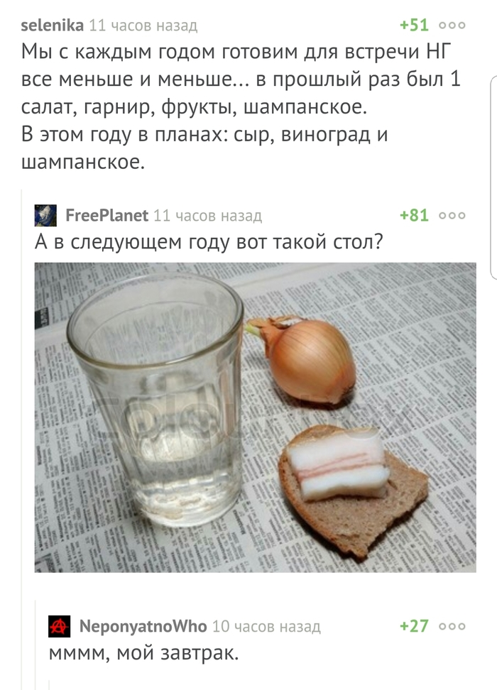 Завтрак типичного пикабушника Комментарии, Скриншот, Забавное