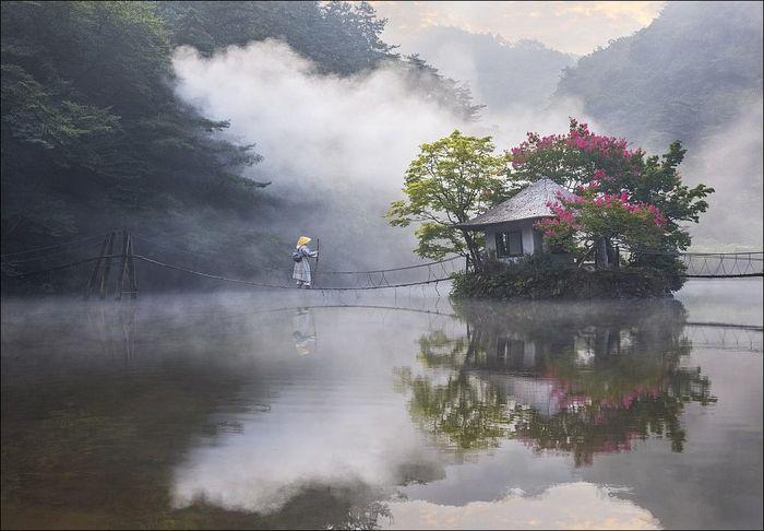 Где-то в Корее Корея, Озеро, Дом, Мост, Река, Туман, Горы, Длиннопост