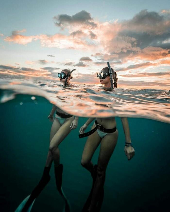 Прекрасный подводный мир by John Kowitz Океан, Девушки, Дайвинг, Длиннопост