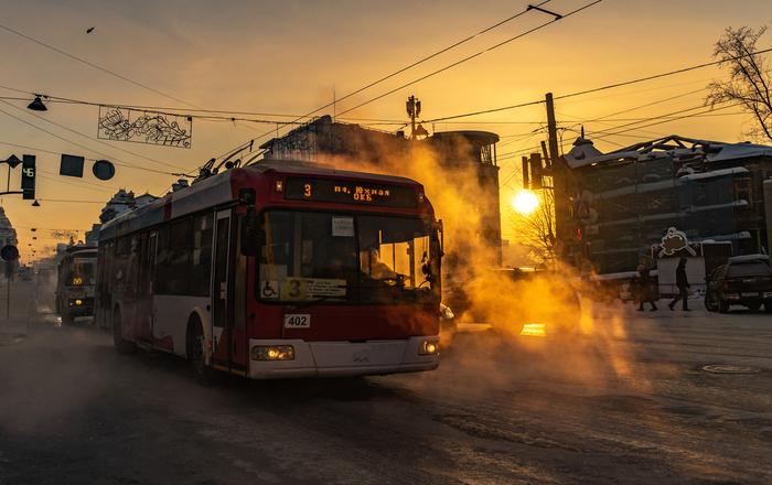 Просвет в морозе Фотография, Троллейбус, Томск