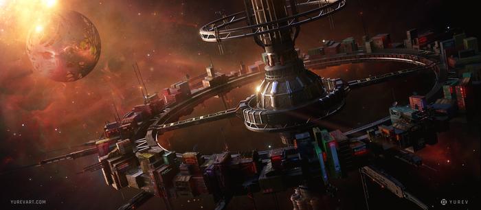 Станция Арт, Научная фантастика, Sci-Fi, Цифровой рисунок, Рисунок, Концепт-Арт, Космическая станция