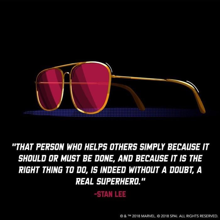 «Тот, кто помогает другим только потому, что так надо и так правильно, и есть, без сомнения, настоящий супергерой».— Стэн Ли Стэн Ли, Супергерои