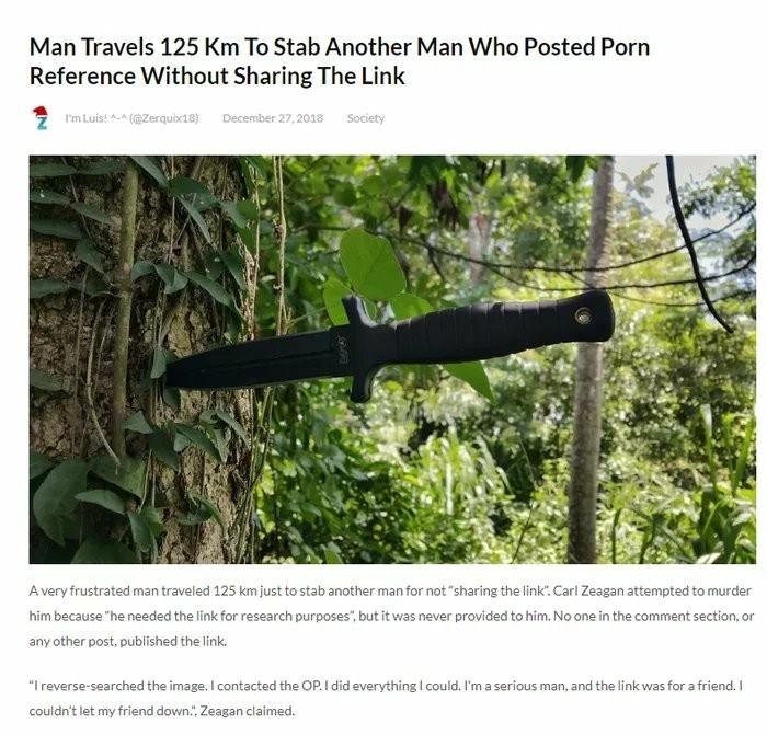 Мужик преодолел 125 км для того, чтобы ударить ножом человека, который запостил порно без ссылки для друга.