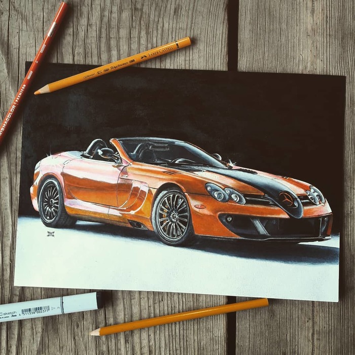 Подборка работ:Mercedes-McLaren SLR 722S, Pontiac Firebird,Ford Mustang S197 McLaren, Мерседес, Pontiac, Ford Mustang, Арт, Рисунок, Рисунок карандашом, Авто, Длиннопост