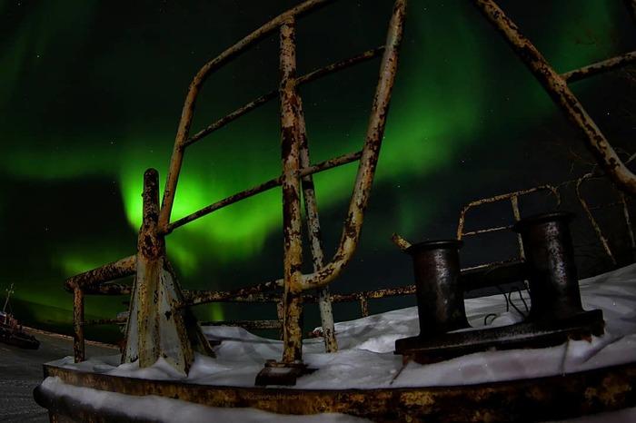 Подарок от природы на НГ))) Северное сияние, Север, Крайний север, Новый Год, Длиннопост