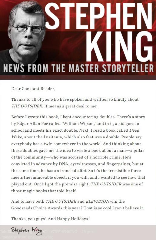 Новогоднее послание от Стивена Кинга Стивен Кинг, Новый Год, Литература, Послание