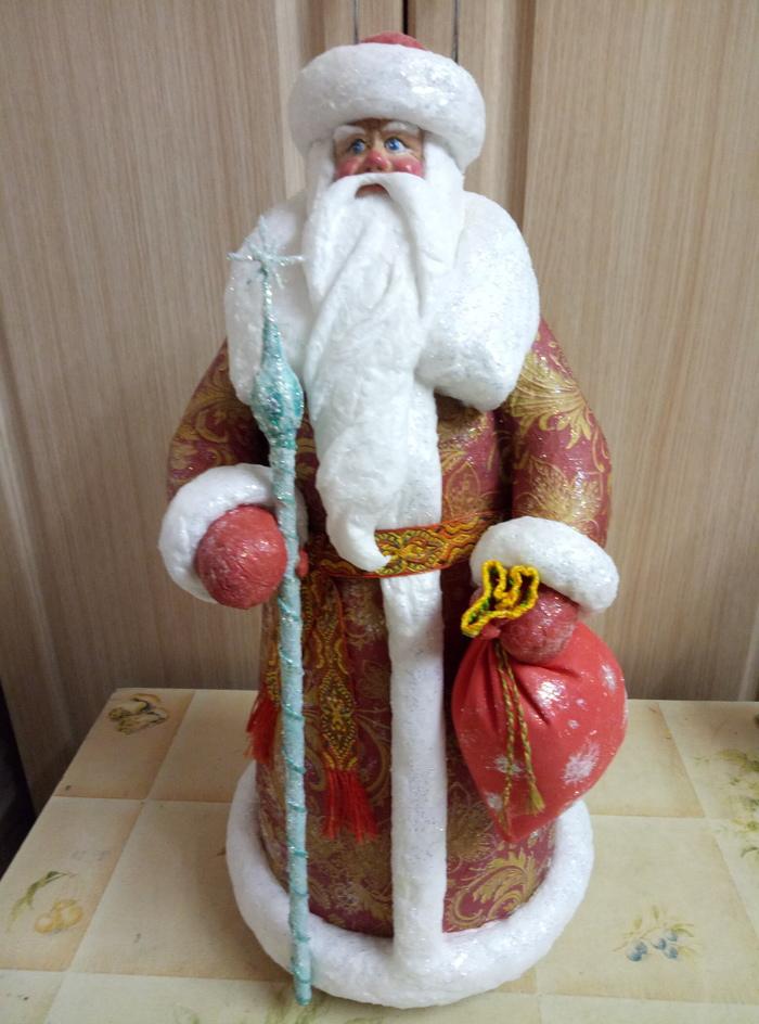 Новая жизнь Деда Мороза родом из 70х Дед Мороз, Рукоделие с процессом, Реставрация, Гифка, Длиннопост, Переделка, Новый Год