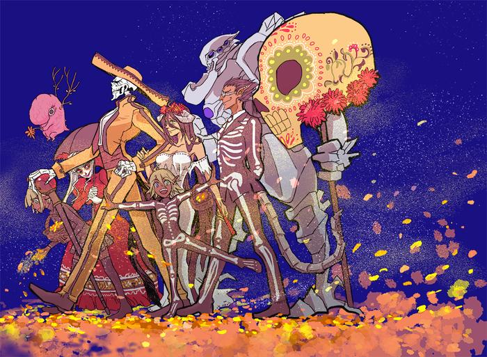 Da de los Muertos Anime Art, Аниме, Overlord, Ainz Ooal Gown, Demiurge, Albedo, День мертвых