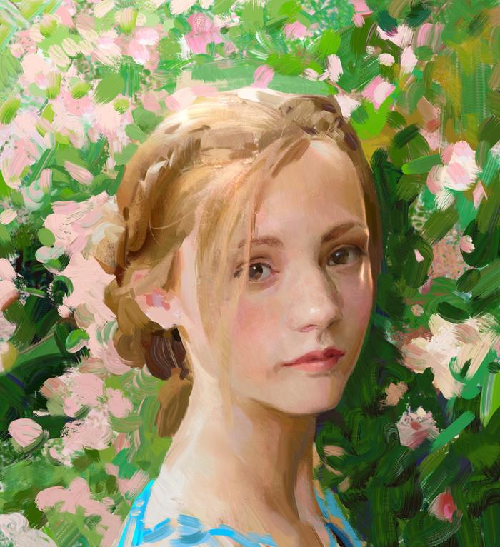 Девушка и цветы. Девушки, Цветы, Портрет, Digital, Арт