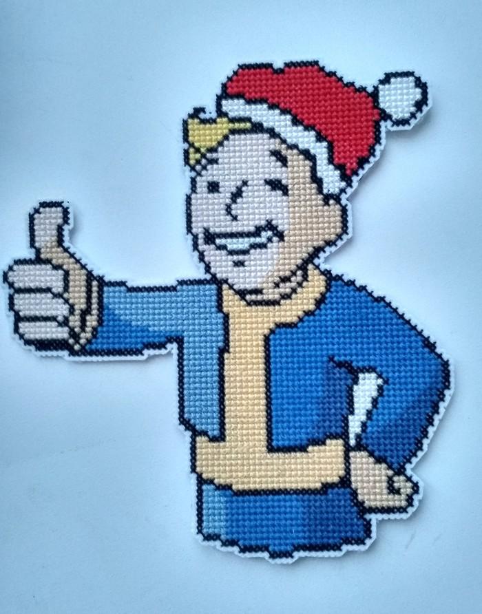 Handmade. Новогодний Vault boy Fallout, Vault Boy, Вышивка крестом, Магнит, Новый Год, Подарок, Ручная работа, Длиннопост