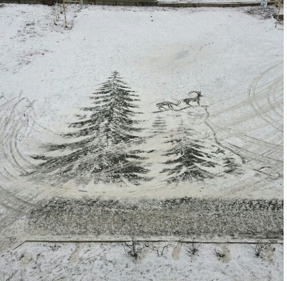 Картины на снегу Зима, Красота, Лепота, Искусство, Снег, Творчество, Талант, Длиннопост, Рисунок на снегу