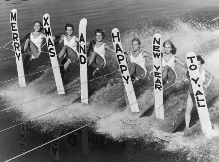Девушки на водных лыжах, побережье Флориды, декабрь 1969 года.