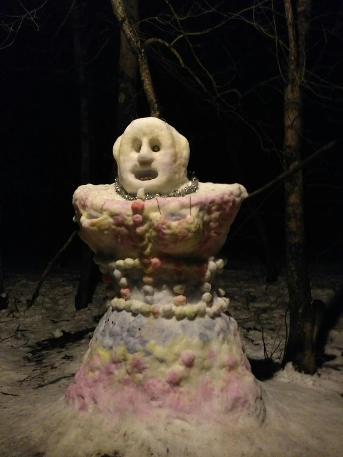 Лесная красавица Снеговик, Зима, Красивая девушка