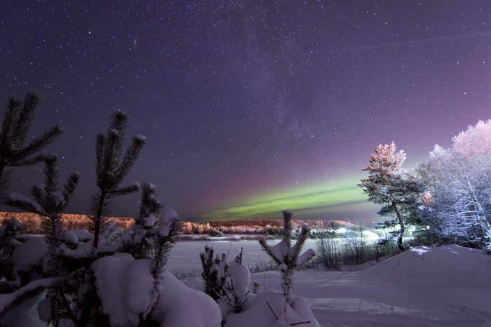 Морозные ночи на севере Европейской части России. Фотография, Астрофото, Северное сияние, Север, Ночь, Зима, Длиннопост