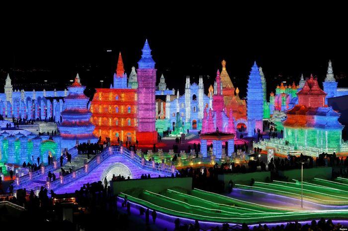 Фестиваль ледяных фигур Харбин, Китай, Лед, Зима, Искусство, Творчество, Ледяная скульптура