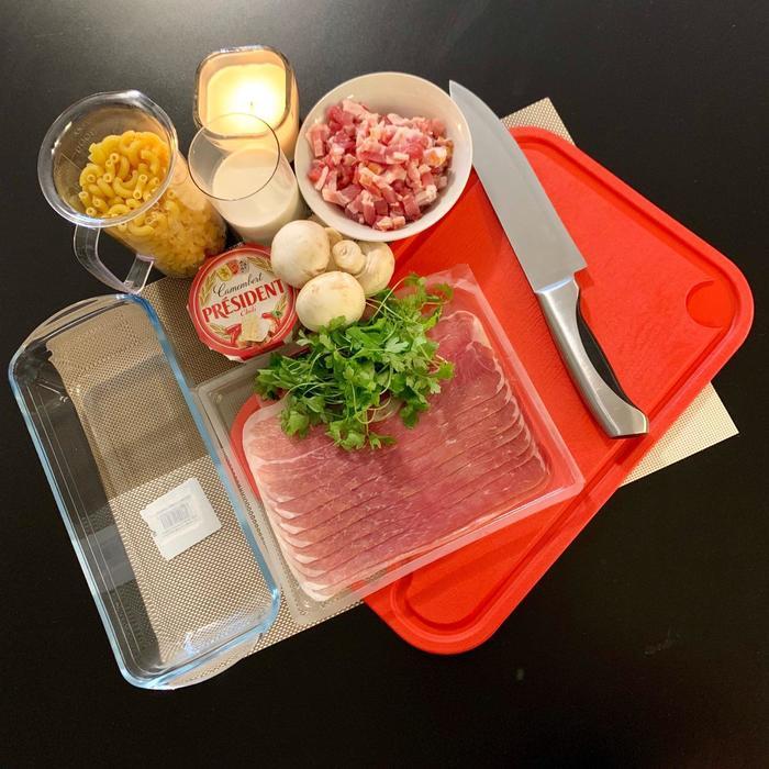 Запеченные макароны с беконом Макароны, Духовка, Бекон, Сыр, Грибы, Рецепт, Длиннопост