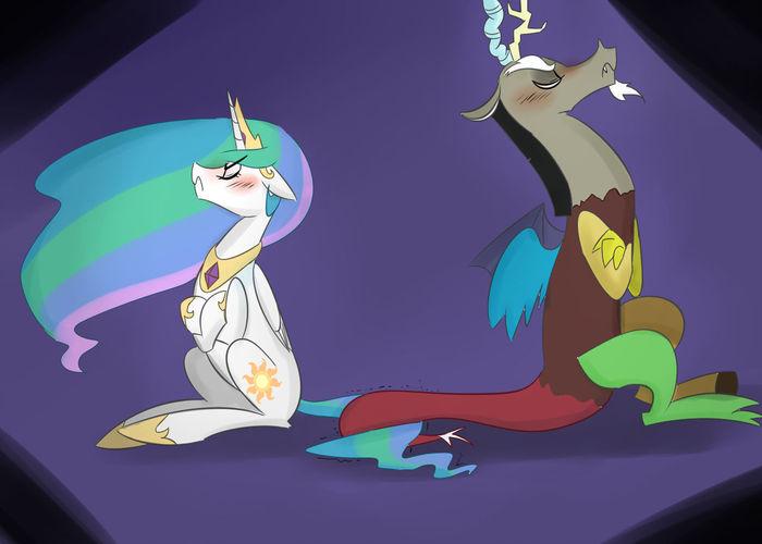 Tsundere Couple My Little Pony, Discord, Princess Celestia, Шиппинг, Zouyugi