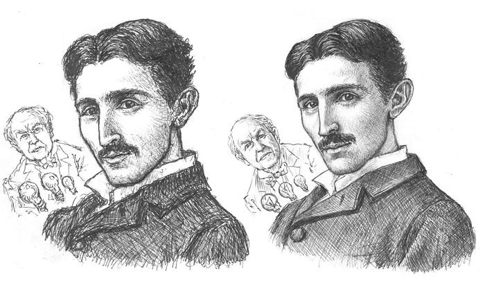 Обоерукие рисунки Портрет, Рука, Правая рука, Длиннопост