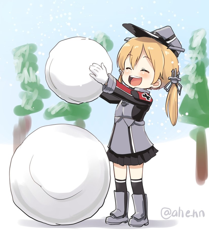 Purinzu-chan makes a snowman Kantai Collection, Prinz Eugen, Аниме, Anime Art, Снеговик