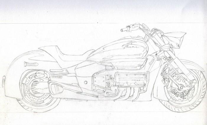 Honda Valkyrie Rune Арт, Рисунок, Рисунок ручкой, Шариковая ручка, Мото, Honda, Длиннопост, Фотореализм