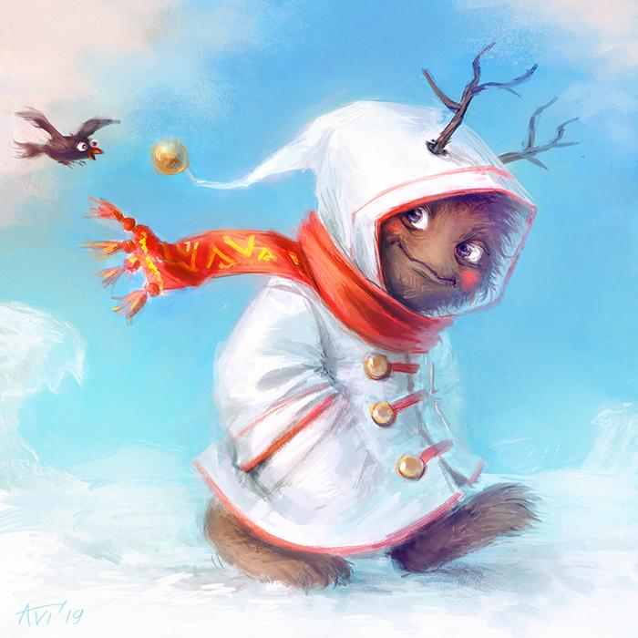 Монстрик спешит домой Монстр, Зима, Новый Год, Фэнтези, Сказка, Существа, Рисунок, Цифровой рисунок